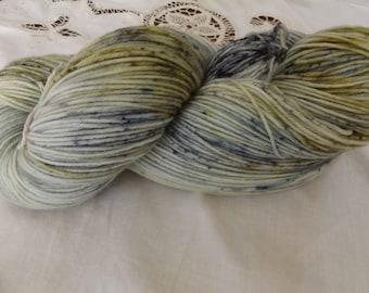 Hand dyed OOAK sock weight superwash merino/nylon yarn Rose base (Speckled sage)
