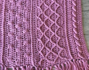 Large Pink Crocheted POPCORN Stitch Granny Square Afghan Blanket Throw