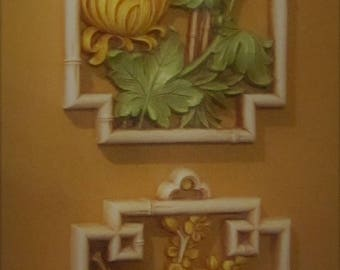 HOMCO #7365 Two Faux Bamboo Frames, Butterflies and Flowers, Birds and Flowers, Set of Two Colorful Wall Hangings