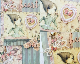 Heart Mirabelle Greeting card with plaster cast 3D heart for her, Pale pink and dusky green handmade cutie card for a girlfriend with heart