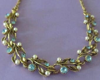 Vintage Unsigned Florenza Necklace with Blue Rhinestones and Faux Pearls