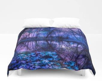 purple bedroom decor. Duvet Cover or Comforter  Enchanted Forest Lake Purple Blue Fantasy Bedding Nature bedroom decor Etsy