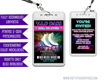 VIP Pass Roller Skating Invitations - Roller Skating Birthday Invitation - 80s Skate Party - VIP Lanyard Invitation Party Favor Passes