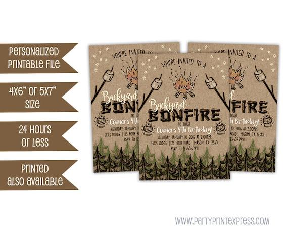 printable bonfire birthday invitation bonfire invitations