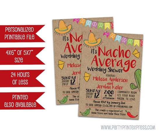 Printable nacho wedding shower invitation nacho average bridal il570xn filmwisefo