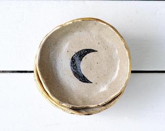LIQUORICE MOON BOWL - Gold Lustre Rim - Stoneware Clay - Black Crescent Moon