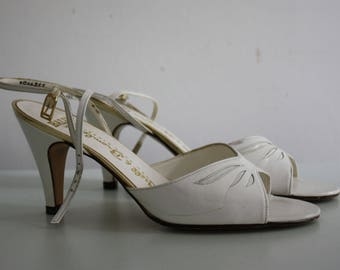 Vintage 1980s Bally for Russell and Bromley Leather White Sandals