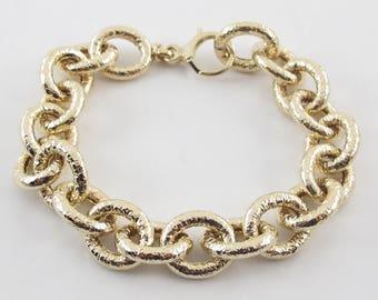 "14k Yellow Gold Rolo Link Charm Bracelet 7 1/2 "" 19.2 grams"