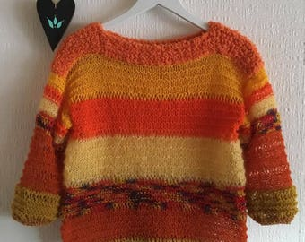 Sweater Knit Knitted Handmade Unique Color