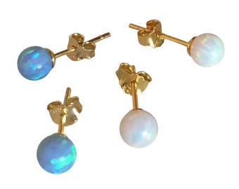 Opal Stud Earrings • Say Hello to Our New Little Friends in White And Blue • Safe to Get Wet • The Perfect Opal Gift For Her