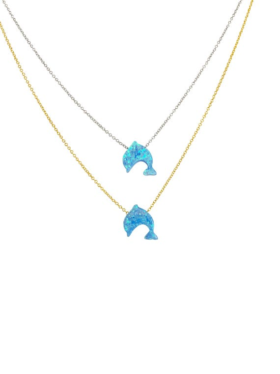 Dolphin, Dolphin Gifts, Dolphin Necklace, Dolphin Jewelry, Dolphin Opal, Best Price on Etsy, Safe to Get Wet, Dolphin Gift For Girls