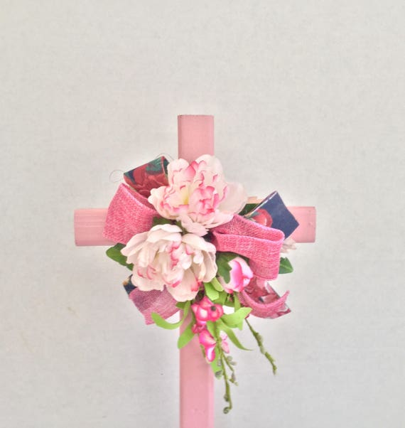 Cemetery cross, cemetery flowers, grave decoration, memorial cross, grave marker, floralmemorials