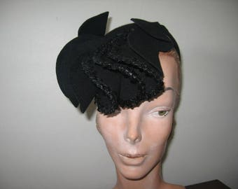 RESERVED / Layaway Payment #3 of 4 / 1940's Black Sequinned Fascinator!