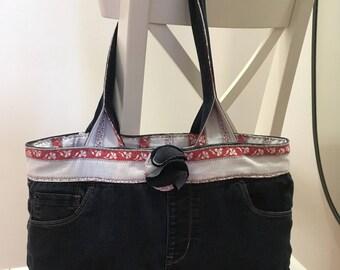 Upcycled DENIM bag, Repurposed Jeans purse,Denim Boho Bag, Denim Purse,Dark Blue Wash denim, Gift for Mom, Mother's Day