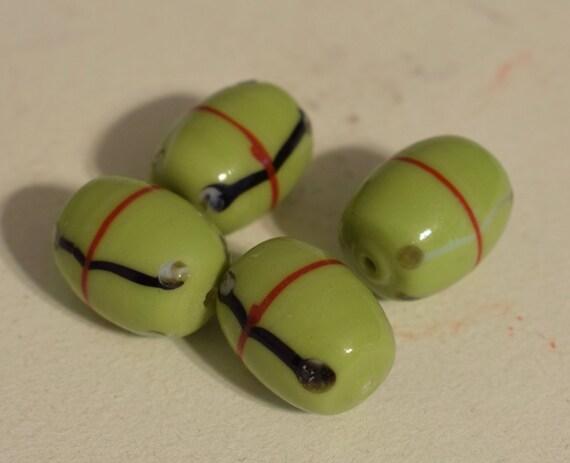 Beads Czechoslovakian Green Abstract Glass Beads Jewelry Necklace Pendant Glass Beads