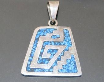 Vintage Mexican Silver Blue Stone Pendant