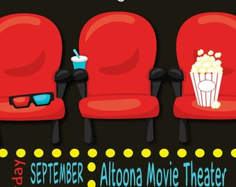 Movie Theater Birthday Invitation Digital File Print at Home