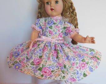 """Pink Floral Print Dress for 15"""" Madame Alexander Princess Elizabeth"""
