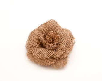 Burlap flower for sewing or craft 7.5 cm