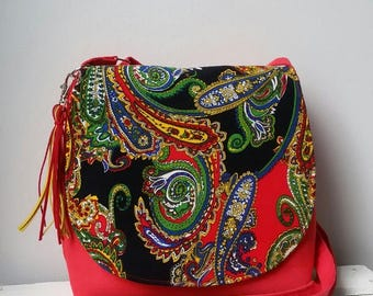 Small messenger bag Oriental colored bag Oriental crossbody bag Boho chic bag Festival bag Oriental purse Vegan messenger bag Hippie bag