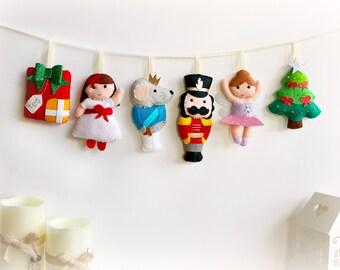 Make Your Own felt Nutcracker Garland Kit, Christmas garland, felt garland, craft kit, Nutcracker Suite, Sugar Plum Fairy, Christmas present