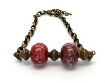 Bracelet bronze beads spun Red
