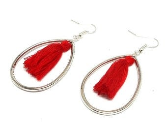 Earrings drops and Red tassel