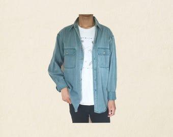 gap turquoise denim button up shirt // vintage // size large
