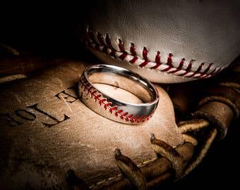 Titanium Baseball Wedding Ring- Red Stitching