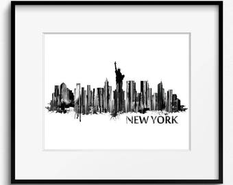 New York City Skyline Watercolor Black and White Art Print (238) New York City Cityscape, New York City Art Print USA Art Print