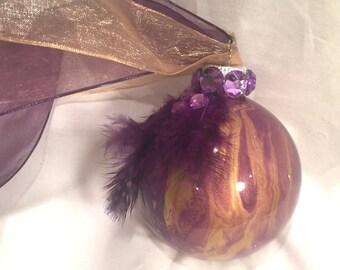 Purple & Gold  Hand  Inside Swirl Marble Painted Glass Christmas Ornament Rhinestones Ribbon