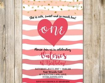 SWEETHEART First Birthday Invitation, VALENTINE 1st Birthday Invite, Girls First Birthday, Pink Little Sweetheart, FEBRUARY Birthday,
