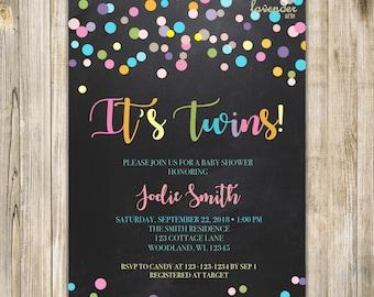 Chalkboard RAINBOW TWINS SHOWER Invitation, Rainbow Baby Sprinkle Invite, It's Twins, Rainbow Confetti, Colorful, Double the Joy, LA15