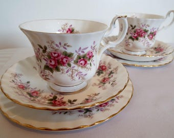 Vintage Royal Albert Lavender Rose Teacup and Saucer And Cake Plate. Royal Albert China Tea Cup Trio With Pink Roses And Lavender, So Pretty