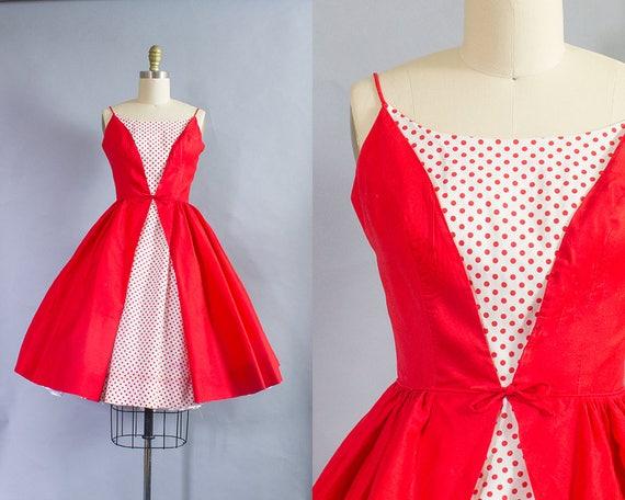 1950s Red Polka Dot Sundress/ Size XXS (32B/22W)