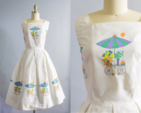 1950s Flower Cart Print Cotton Dress/ Medium (36b/28W)