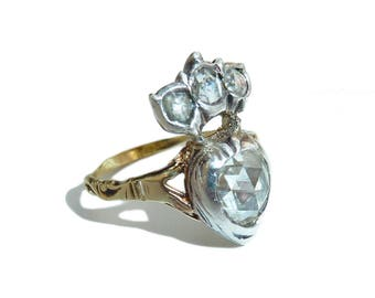 Georgian Rose Cut Diamond Crowned Heart Ring, Heart In My Hands Ring, Fede Shoulders, Claddagh Ring