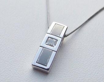15% SALE - Vintage 925 Sterling Silver Cubic Zirconia Necklace
