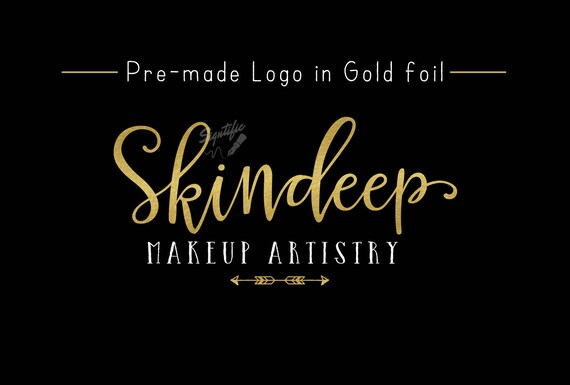 Premade Gold Foil Name Logo, Gold Leaf Logo, Makeup Artistry Logo, Event Planning Logo, Business Logo, Name Signature Logo, Pre-made Logo