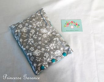 Heating pad in cotton, organic flax seeds, lace effect, blue saki, in STOCK