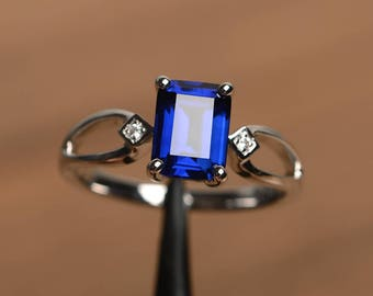 engagement ring blue sapphire ring September birthstone emerald cut blue gemstone sterling silver