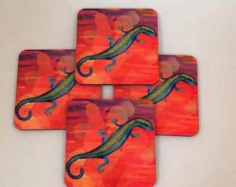 Southwest Gecko Lizard, Santa Fe Style,Graphic Art,  4 piece coaster set