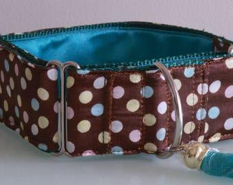 CHOCOLATE TRUFFLE - Brown Satin Polka Dot 5 cm Martingale Dog Collar with Tassel