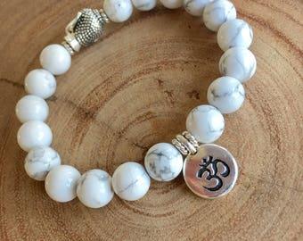 White Howlite Silver Buddha Bracelet, Silver Om Charm Bracelet, Spiritual Bracelet, Wellness Bracelet, Birthday Gift Idea
