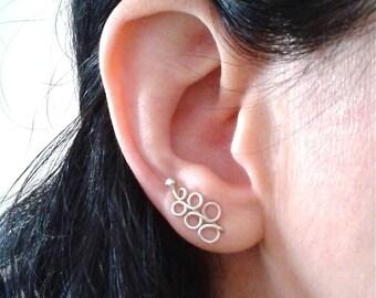 Sterling silver ear climbers, cute ear jackets simple ear wraps, dainty ear cuffs climbing earrings, joyeria y bisuteria, Ohr Kletterer
