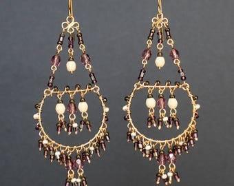 Multi Color Chandelier Earrings, Amethyst Chandelier Earrings, Turquoise Chandelier Earrings, Multi Color Chandelier Earrings, Pink, Rose,