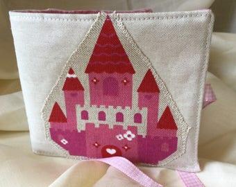 Needle case with fairytale princess castle appliqué, Needlebook, Sewing , Fabric, Needles, Applique.