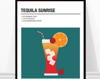 Tequila Sunrise Print, Cocktail Print, Cocktail Recipe Art, Alcohol Print, Tequila Sunrise Cocktail Print