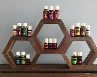 Honeycomb Wooden Essential Oils Shelf
