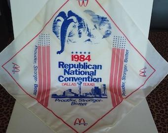1984 Republican National Convention Bandana, Dallas, Texas, Scarf, McDonald's, Vintage Scarf, Republican, Bandana, Nixon, GOP